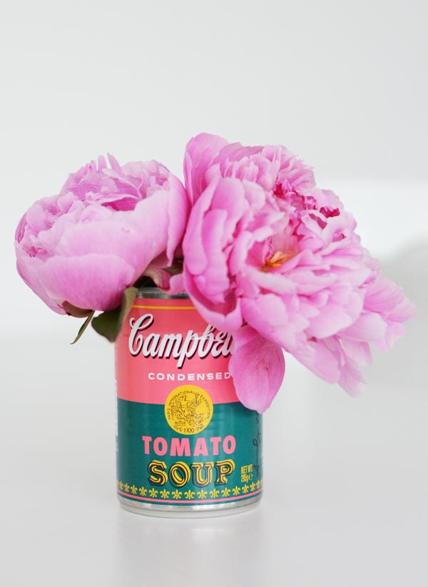 peonies campbells soup warhol vase