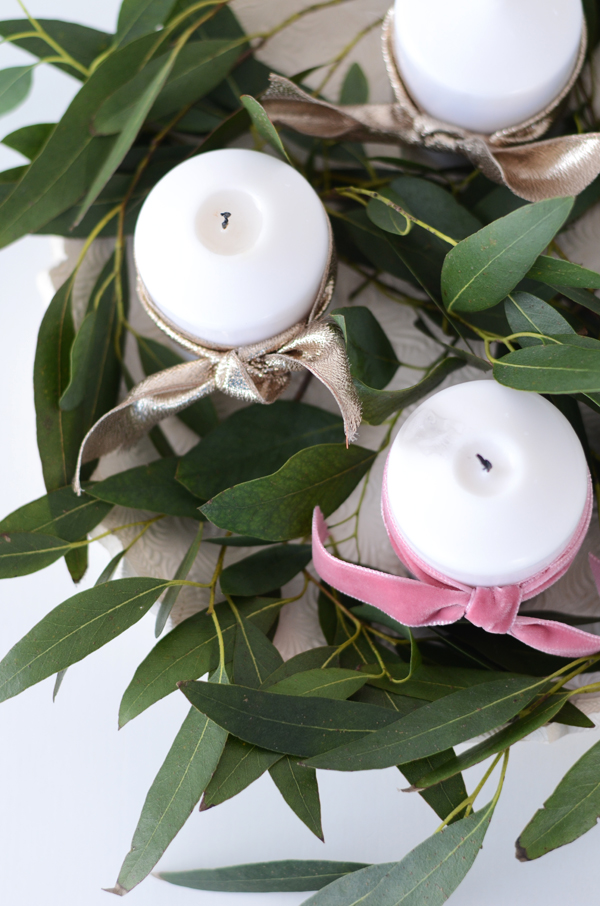 DIY Advent Wreath with Eucalyptus and candles