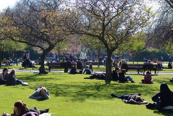 Sunny day in Dublin, Ireland