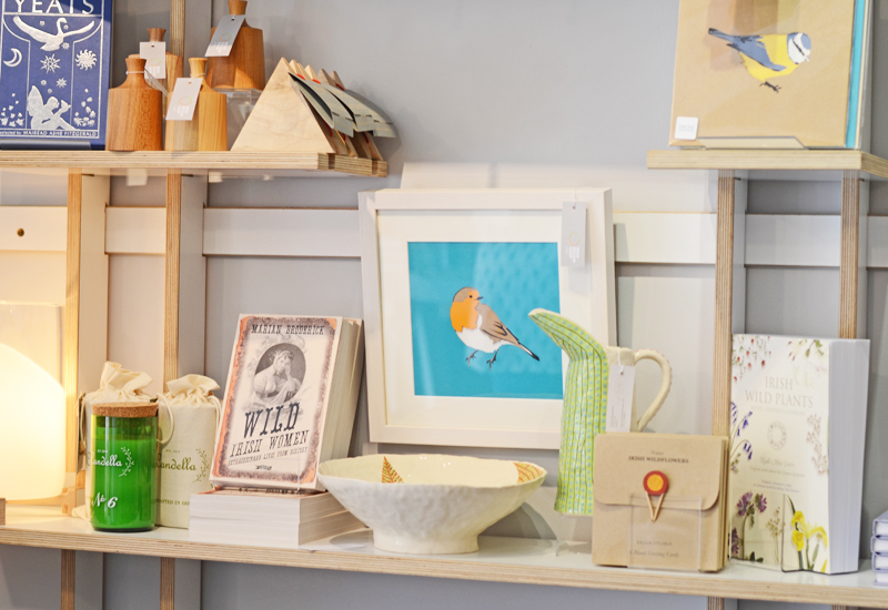 Prints, books, pottery at the Irish Design Shop, Dublin, Ireland