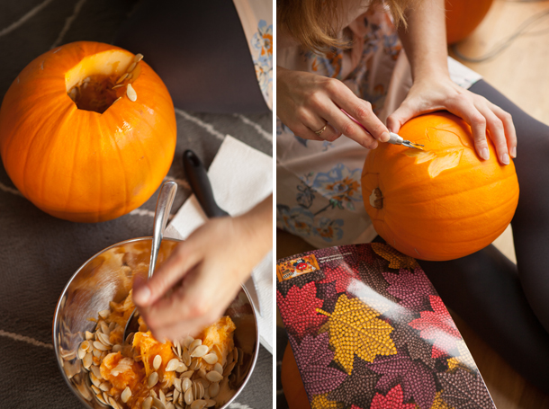 Pumpkin carving with a lino cutter from china village