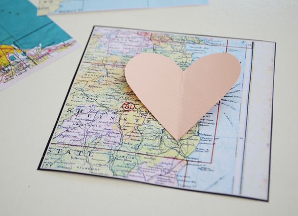Cut Out Your Heart Shape That You Ll Use To Ensure You Have Three Identical Map Hearts