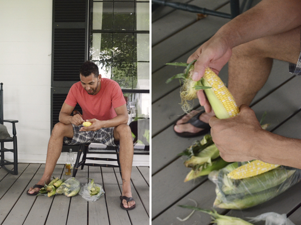 mike shucking corn