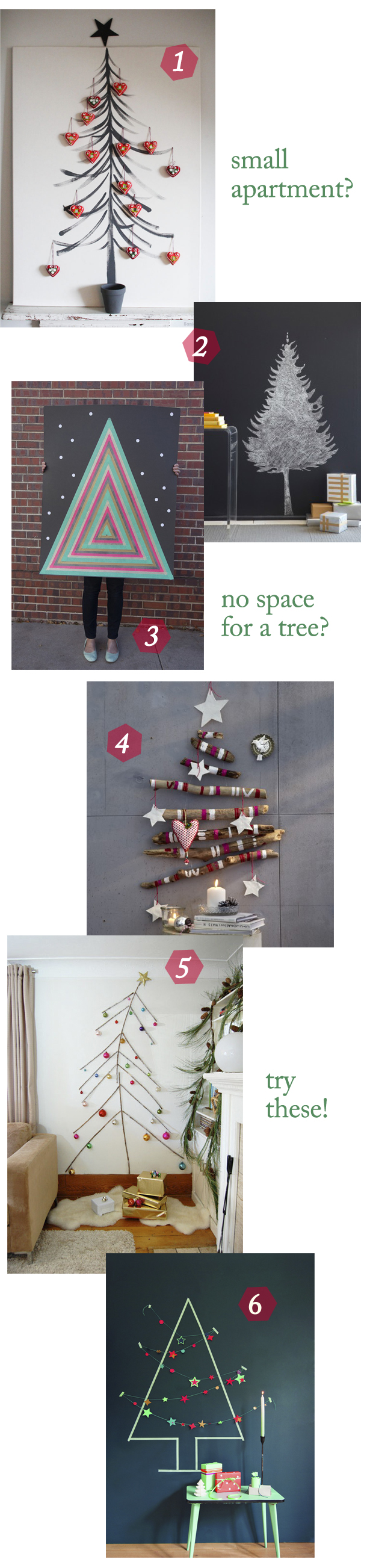 six small space christmas trees