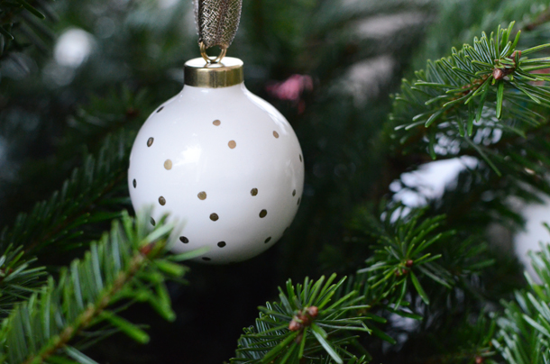 polka dot porcelain ornament