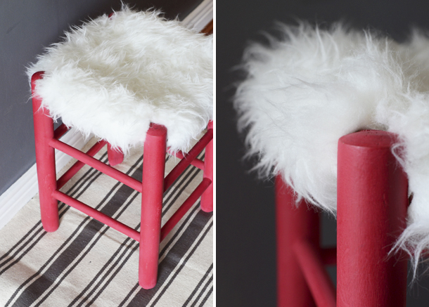 faux fur stool diy 3