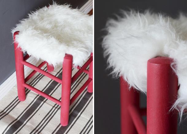 faux fur stool diy 3